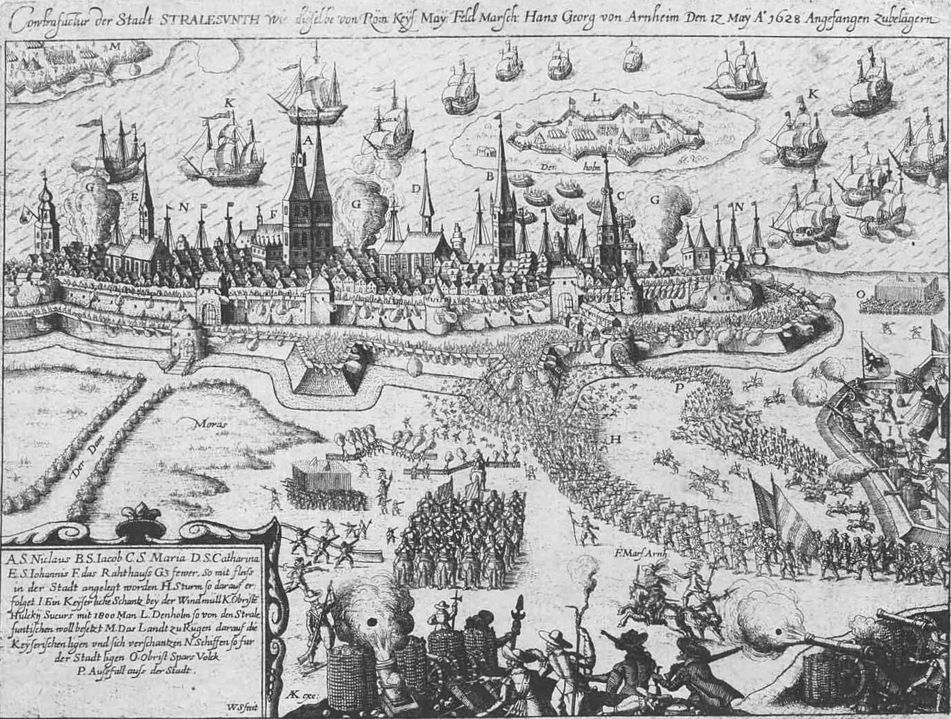 Historische Abbildung der Belagerung Stralsunds durch Wallenstein.